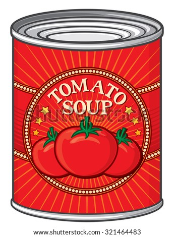 can of tomato soup (tin of tomato soup) - stock vector