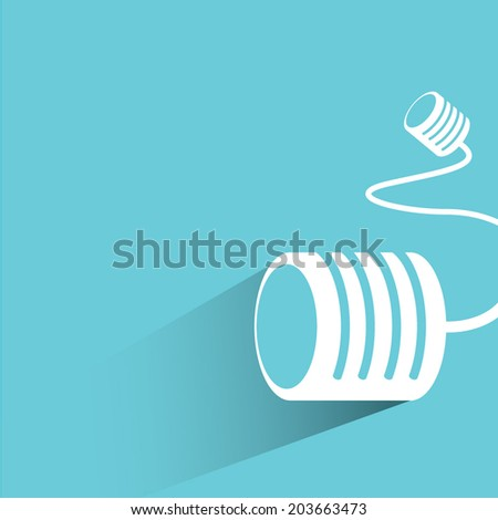 can telephone, communication concept, blue background, flat and shadow theme - stock vector