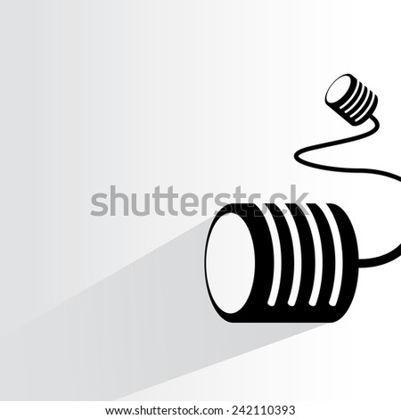 can telephone, communication concept on white background, flat and shadow theme - stock vector