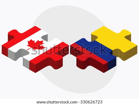 Canada and Colombia Flags in puzzle isolated on white background - stock vector