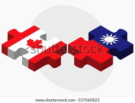 Canada and Taiwan Flags in puzzle isolated on white background - stock vector