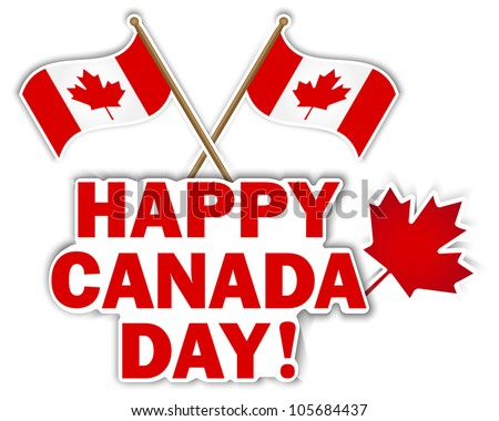 Canada Day stickers with maple leaf and flags. 10 EPS. Vector illustration. - stock vector