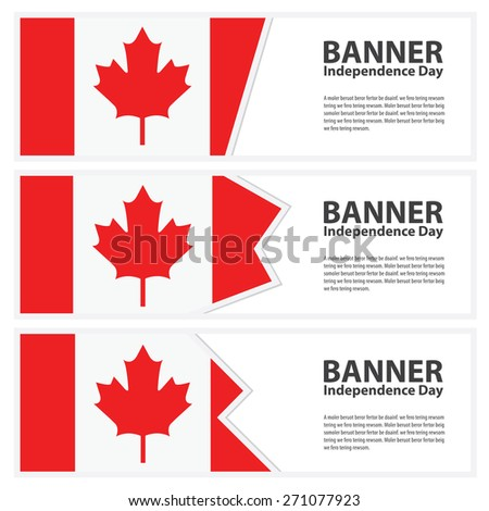 canada Flag banners collection independence day - stock vector