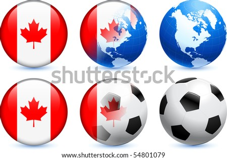 Canada Flag Button with Global Soccer Event Original Illustration - stock vector