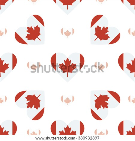 Canada flag heart seamless pattern. Patriotic Canada flag background. Country flag in the shape of heart. Vector seamless pattern. - stock vector