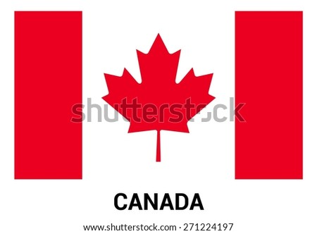 Canada flag isolated vector in official colors and Proportion Correctly. country's name label in bottom - stock vector