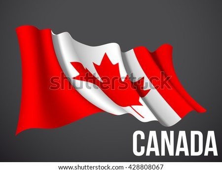 Canada flag vector waving in the wind illustration isolated on a dark background. Modern banner to the day of independence country. Holiday card with standard Spirit of the union National Day - stock vector