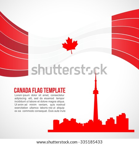 Canada flag wave and the landmark CN Tower  - stock vector