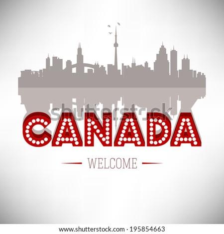 Canada greeting card, vector illustration. - stock vector