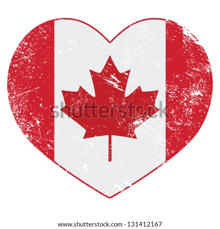 Canada heart retro flag - stock vector