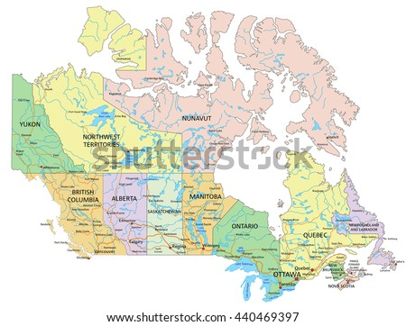 Canada - Highly detailed editable political map with labeling. - stock vector