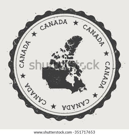 Canada. Hipster round rubber stamp with Canada map. Vintage passport stamp with circular text and stars, vector illustration - stock vector