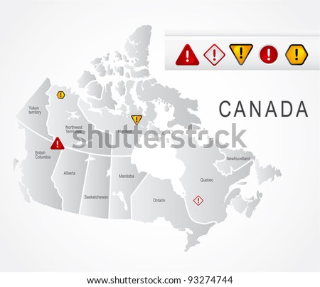 Canada map Canada detailed map with navigation icons - stock vector