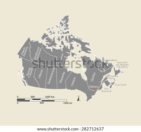 Canada map vector, Canada map outlines in grey background design with boundaries or polygons of provinces and mileage and kilometer scales - stock vector