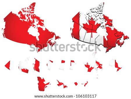 Canada map with flag - stock vector