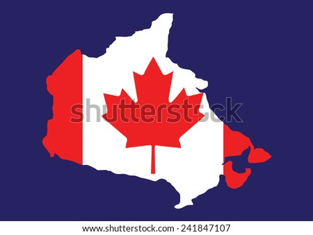 Canada map with flag inside, canada map vector, map vector - stock vector