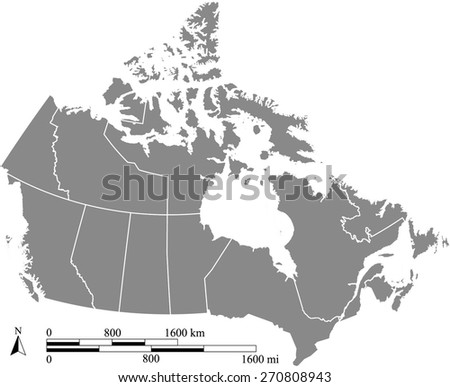 Canada map with scale, a grey color map of Canada with boundaries/ polygons of districts or provinces or states - stock vector