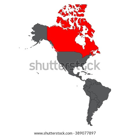 Canada red map on gray America map vector - stock vector