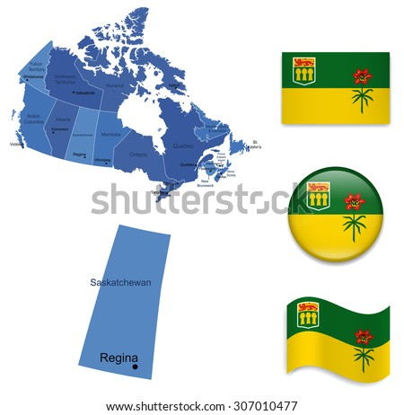 Canada-Saskatchewan-Map and Flag Collection - stock vector