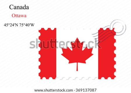 canada stamp design over stripy background, abstract vector art illustration, image contains transparency - stock vector