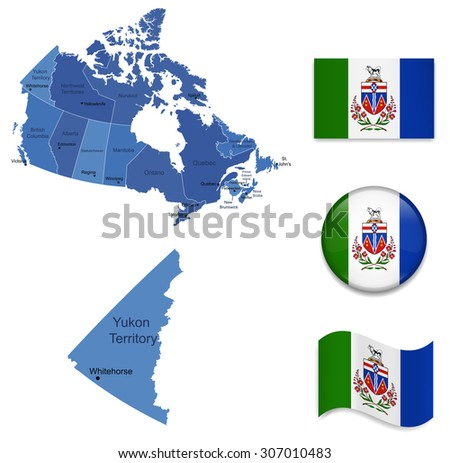 Canada-Yukon-Map and Flags Icon Collection - stock vector