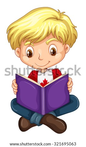 Canadian boy reading a book illustration - stock vector