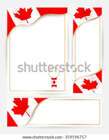 Canadian flag banners set. Design templates for flyers, posters, certificates and documents with flag of Canada - stock vector