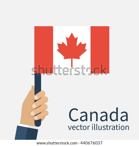 Canadian flag holding in hands of men. Canada Day. Vector illustration, flat design. Isolated hand with a Canadian flag in the background. - stock vector