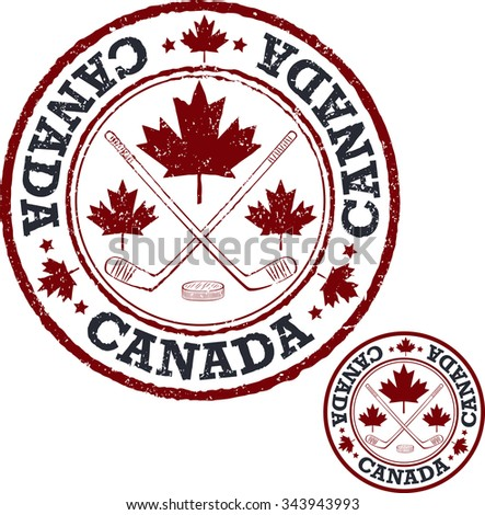 Canadian hockey stamp. - stock vector