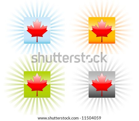 Canadian maple leaf icon illustrations - stock vector