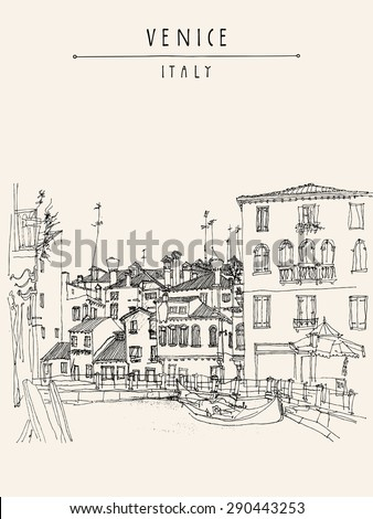 Canareggio, Venice, Italy, Europe with gondola, canal, facades. Touristic city view.  Vector art freehand illustration postcard. Vintage poster greeting card graphic design template, hand lettering - stock vector