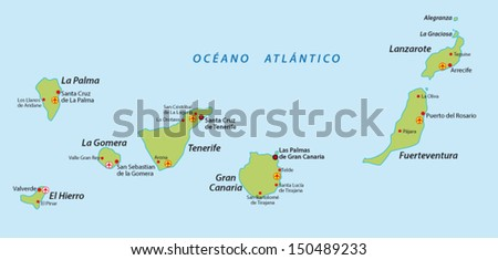 Canary Islands map - stock vector
