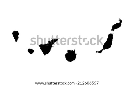 Canary Islands vector map high detailed silhouette illustration isolated on white background. - stock vector
