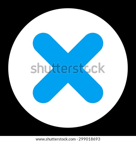 Cancel icon from Primitive Round Buttons OverColor Set. This round flat button is drawn with blue and white colors on a black background. - stock vector