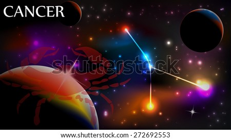 Cancer - Space Scene with Astrological Sign and copy space - stock vector