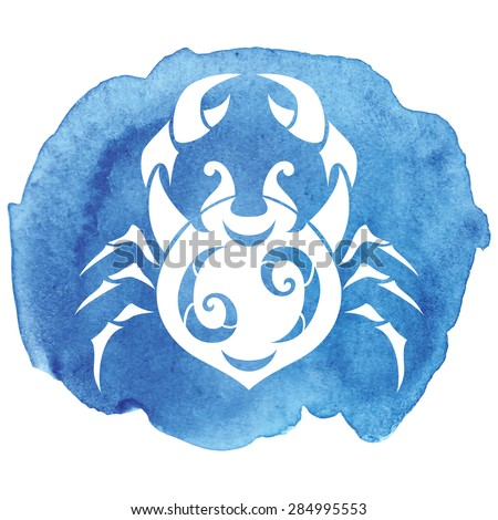 Cancer zodiac sign on watercolor background. Vector Illustration  - stock vector