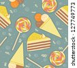 candies seamless pattern.Vector background - stock vector