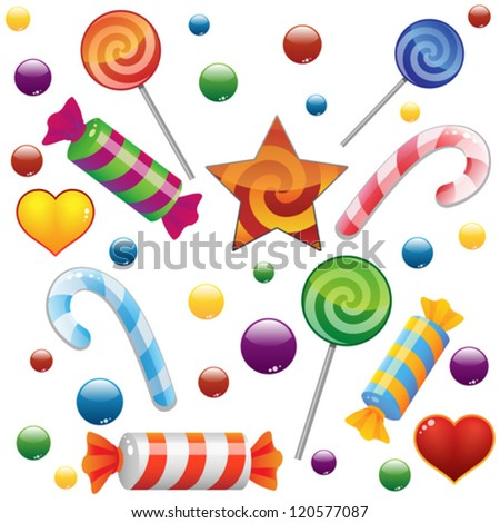 Candies set on white background. Vector illustration - stock vector