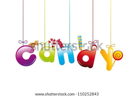 candies with candy text over white background. vector illustration - stock vector