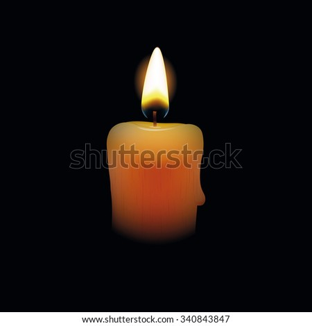 Candle on black background. Vector illustration - stock vector