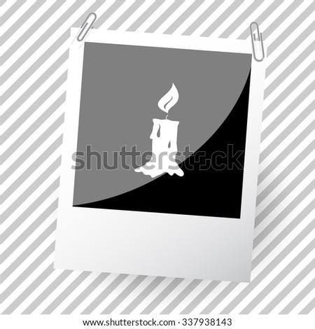 candle. Photoframe. Vector icon. - stock vector