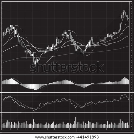 Candle Stick Graph, Stock Market Investment Trading, Set of various indicators, Black and White - stock vector
