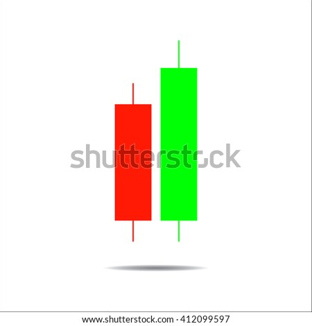 Candle trading chart to analyze the trade in the foreign exchange and stock market, icon - stock vector - stock vector