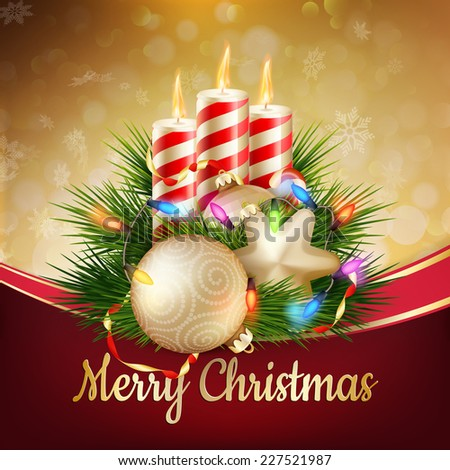 Candles and Christmas ornaments on snow background. EPS 10 vector file included - stock vector