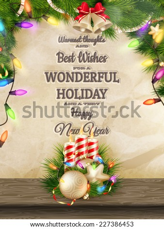 Candles and Christmas ornaments on wrinkled paper background. EPS 10 vector file included - stock vector