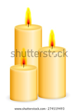 Candles on a white background. Vector illustration. - stock vector
