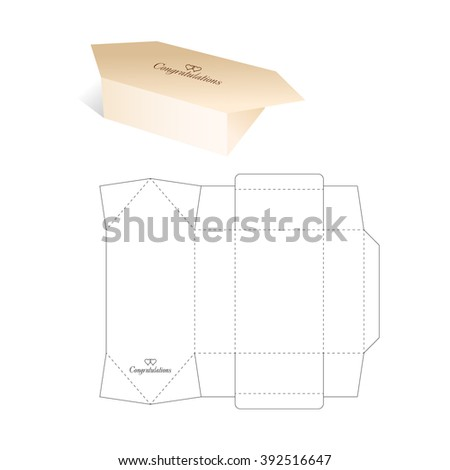 Candy Box with Blueprint Template - stock vector