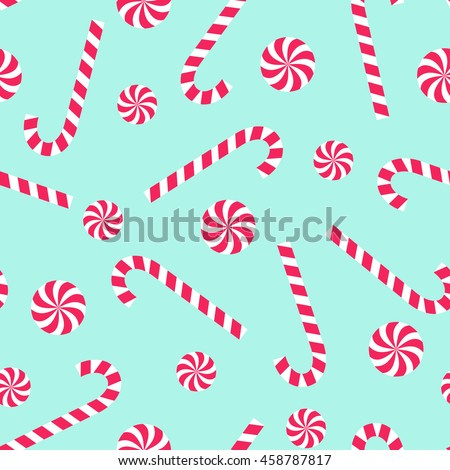Candy cane and lollipop seamless christmas pattern on mint green background. Happy New Year and Merry Xmas background. Vector winter holidays print for textile, wallpaper, fabric, wallpaper. - stock vector