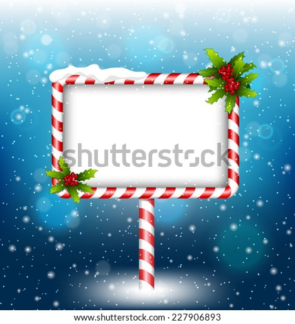 candy cane billboard with holly sprigs in snowfall on blue background - stock vector