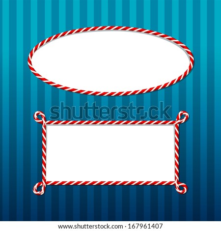 candy cane borders set 3 - stock vector
